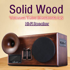 HiFi Bluetooth 4.2 Vacuum Tube Solid Wood Speaker AUX/TF IN For Home/Outdoor/PC