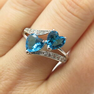 925 Sterling Silver Vintage Apatite & C Z Heart Ring Size 10.5