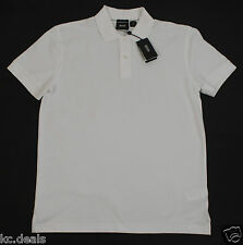 HUGO BOSS FIRENZE LOGO REGULAR FIT MENS WHITE COTTON MESH SHIRT MULTIPLE SIZES