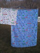 """Vintage Kids Duvet Cover and Large Pillow Case Primary Colors ~ 74"""" x 53"""" Blue"""