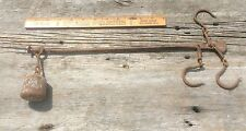 Antique Primitive Steel Beam Scale , Three Hooks Weight And Beam