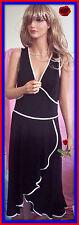NWT $198 L LARGE ABS Allen Schwartz Little Black Sleeveless White Trim Dress