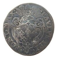 .RARE 1534 - 1549 PAPAL STATES 1 SILVER GIULIO. ROME MINT, POPE PAUL III