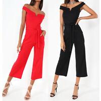 New Womens Bardot V Neck Crop Culotte Wide Jumpsuit Ladies Jumpsuit Size 8-16 UK