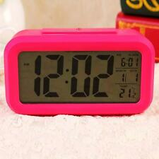 Snooze LED Digital Alarm Clock Thermometer Date Time Night Smart Light LCD R BG