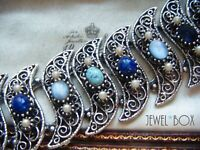 VINTAGE FAUX PEARL TURQUOISE MOONSTONE GLASS CABACHON SAPPHIRE CRYSTAL BRACELET