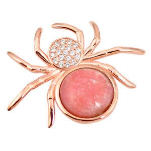 Splendid Natural Pink Opal Topaz 925silver 14k Rose Gold Spider Pendant C15394
