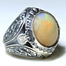 925 Sterling Silver Ring with Australian Opal Unique handcrafted Men's Jewelry