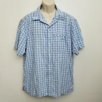 Columbia Mens Button Up Shirt XL Blue White Plaid Polynosic Modal Short Sleeve