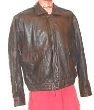 J R Stone Brown Leather Distressed Motorcycle Jacket Oklahoma Buttons Large READ