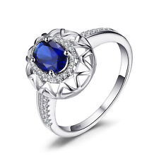 1ct Oval Luxury Sapphire & Cubic Zirconia Pure Sterling Silver Ring Size 8