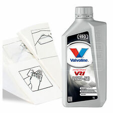 Engine Oil Top Up 1 LITRE Valvoline VR1 Racing 20w-50 1L +Gloves,Wipes,Funnel