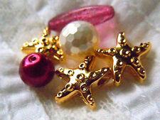 3Stk. hochwertige, 24 Karat vergoldete Seestern-Perlen z.Auffädeln -ca.14mm -
