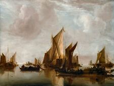 A State Yacht and Other Craft by Jan van de Cappelle Old Masters 11x14 Art Print