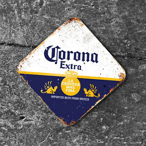 Corona Extra Bottle Lager Beer Mat Mexico Office Drink Gift 10cm METAL Coaster