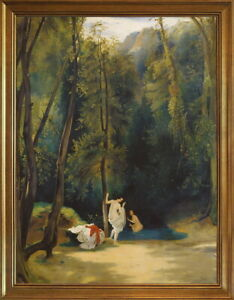 Classic Framed Carl Blechen Woman Bathing in the Park  Giclee Canvas Print