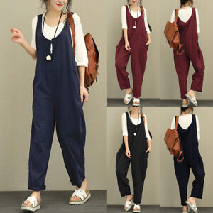 UK Womens Dungarees Romper Cami Button Ladies Overalls Trousers Loose Jumpsuit