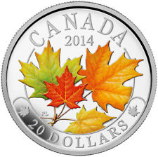 2014 $20 Majestic Maple Leaves with Colour Pure Silver Coin Tax Exempt RCM COA