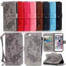 Card Holder Leather Flip Wallet Case Phone Cover Stand Floral w/ Diamond Straps