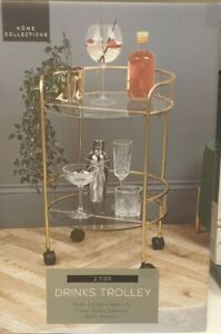 New Home Collections Round Gold Effect 2 Tier Round Drinks Trolley