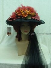 Elsie Massey Victorian Downton style brimmed hat with free hatpin black and rust