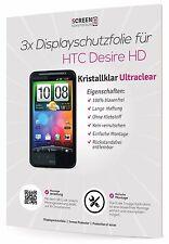 3x Displayschutzfolie für HTC Desire HD kristallklar Schutzfolie Displayfolie
