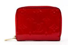 Auth Louis Vuitton M90202 Monogram Vernis Zip around Wallet Coin Purs Red #24227