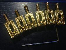 6x Modern Gold Chrome Roller Saddles for Fender Strat/ Tele type Electric Guitar