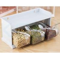 3 in 1 Spice Jar Plastic Seasoning Condiments Storage Durable Box Kitchen salt