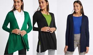 MARKS & SPENCER BLACK GREEN NAVY BLUE OPEN FRONT RIBBED CARDIGAN Sizes S,M,L,XL