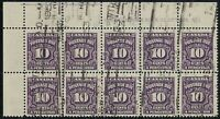Canada J20 - 1953 Postage Due UL Plate #1 block of 10. FULL OG, VF-NH