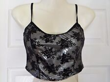 ANN SUMMERS SILVER / BLACK CROP CAMISOLE TOP, SIZE 8, BRAND NEW WITHOUT TAGS