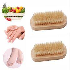 HQ Wood Double Sided Handle Bristle Manicure Pedicure Scrubbing Nail Bath Brush