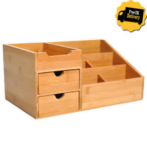 Wooden Desk Top Organiser Small Drawers Compartments Stationary Tidy Pen Holder