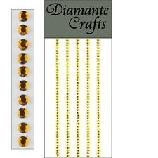 220 x 2mm Gold Diamante Self Adhesive Strips Rows Rhinestone Craft Gems