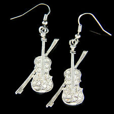 w Swarovski Crystal ~Violin~ Fiddle Viola Cello Music Musical Orchestra Earrings