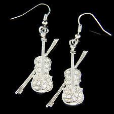 w Swarovski Crystal ~Violin~ Fiddle Viola Cello Music Musical Orchestra Earrings