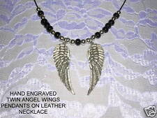 NEW HAND ENGRAVED TWIN PAIR OF ANGEL WING CAST PEWTER WINGS PENDANT ADJ NECKLACE