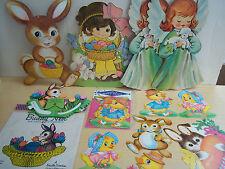 17 Piece Vintage Lot Easter Die Cuts - Gibson - Dennisons - Beistle Centerpiece