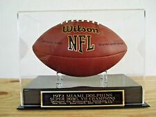 Football Display Case With A Miami Dolphins Super Bowl 7 Champions Nameplate
