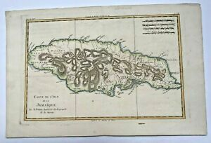 JAMAICA 1780 RIGOBERT BONNE ANTIQUE COPPER ENGRAVED MAP IN COLORS 18TH CENTURY