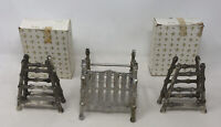 Lot Of 3 Vintage Metal Faux Bamboo Serving Pieces Napkin Holders Knife Rest