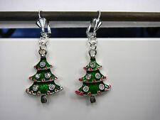 Weihnachts Ohrringe Tannenbaum Brisur Versilbert grün Straß Weihnachtsbaum Tanne