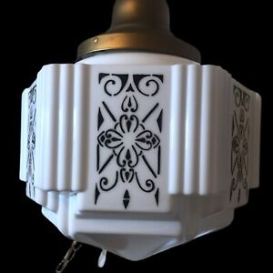 VINTAGE 1930'S ART DECO MILK GLASS SHADE CEILING LIGHT FIXTURE SKYSCRAPER