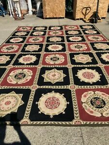 Large PerPoint Hand Made Black and Red Area Rug w/ Flowers