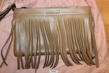Miu Miu Prada Montana Dalf Cannella Fringe Zip Top Wristlet Clutch Purse Leather