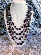 "Nwt Triple Strand Purple w/ Ab Beads Necklace by Robert Rose 20+"" Long Cl724B"