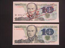 POLAND 1982  10  ZL- SPECIMEN/ WZOR AND REGULAR  NOTE-2 PC  -  GEM UNC