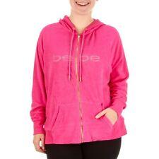 ca739e44a56 NWT Bebe Hoodie Rhinestone Logo Jacket Zip Hot Pink Terry Cloth Plus Size  1X 2X