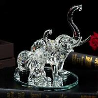 Large Decorative Crystal Glass Animal Elephant Ornament Figurines Mother/ Child